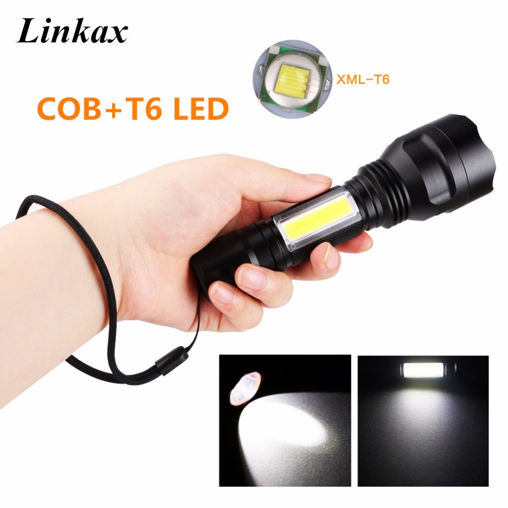 Powerful Tactical Flashlight CREE T6+COB LED Flash Light Waterproof Torch 4-Modes For Camping Hunting Lanterna 18650 t6 cob protable searchlight rechargeable led flashlight lanterna with side led flash light hand torch flash lamp for camping