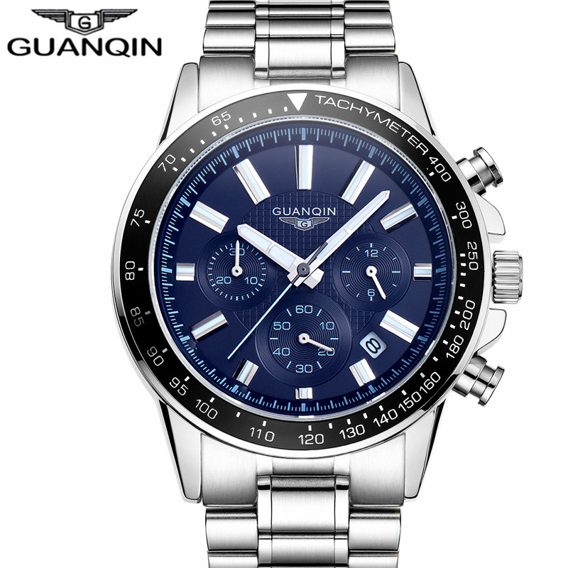Relogio Masculino Guanqin Mens Watches Top Brand Luxury Business Stainless Steel Quartz Watch Men Sport Waterproof Wristwatch montre homme guanqin watches men sport casual leather quartz watch mens luxury top brand waterproof wristwatch relogio masculino