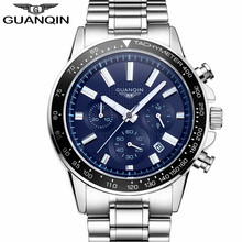 Relogio Masculino Guanqin Mens Watches Top Brand Luxury Business Stainless Steel Quartz Watch Men Sport Waterproof Wristwatch