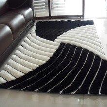 Ковер с геометрическим, цвет белый и черный, краткое 3d трехмерный ковер диван журнальный столик одноразовые ковровое покрытие