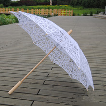 New Fashion Lace Sun Umbrella Parasol Embroidery Bride Umbrella White Ivory Wedding Umbrella Ombrelle Dentelle Parapluie Mariage