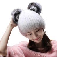 2019 New Water Velvet Hat Female Winter Suede Woven Hat Korean Version Of Cute Cat Ears Warm Fur