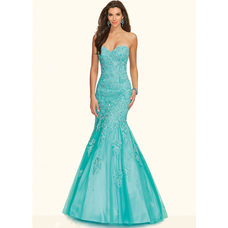 Free Shipping 2015 Sexy Sky Blue Mermaid Prom Dresses Elegant Sweetheart Applique Long Evening Gown Vestido De Festa