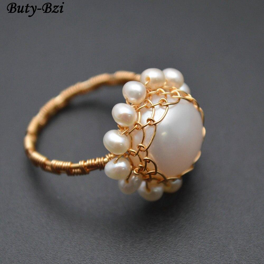 Handgemachte Natürliche Süßwasser Perle Münze Perlen Draht Gewickelt ...