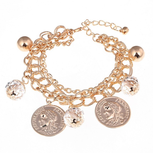 Fashion Multi Layers Chain Bracelet Exquisite Gold Color Charming For Wedding Coin Design Special Jewelry