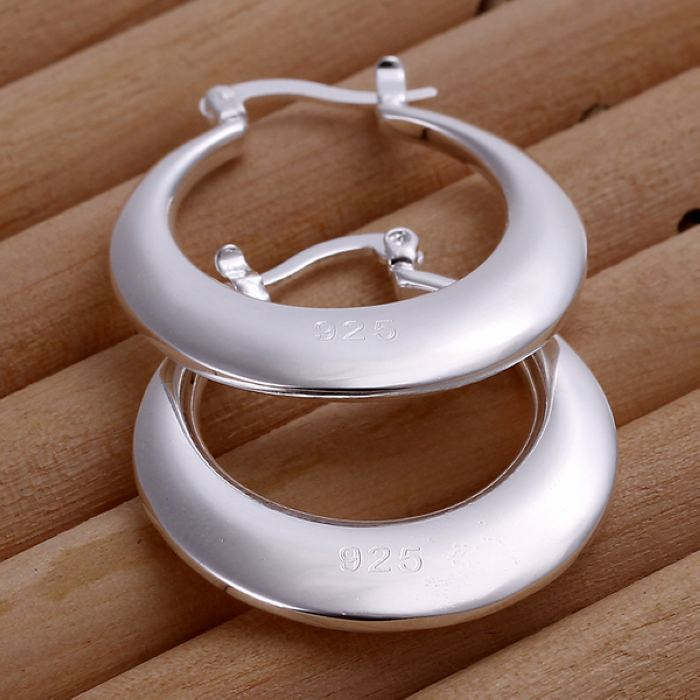 Silver  women lady wedding party hot sale fashion Crescent earrings Simple Round silver earrings E077