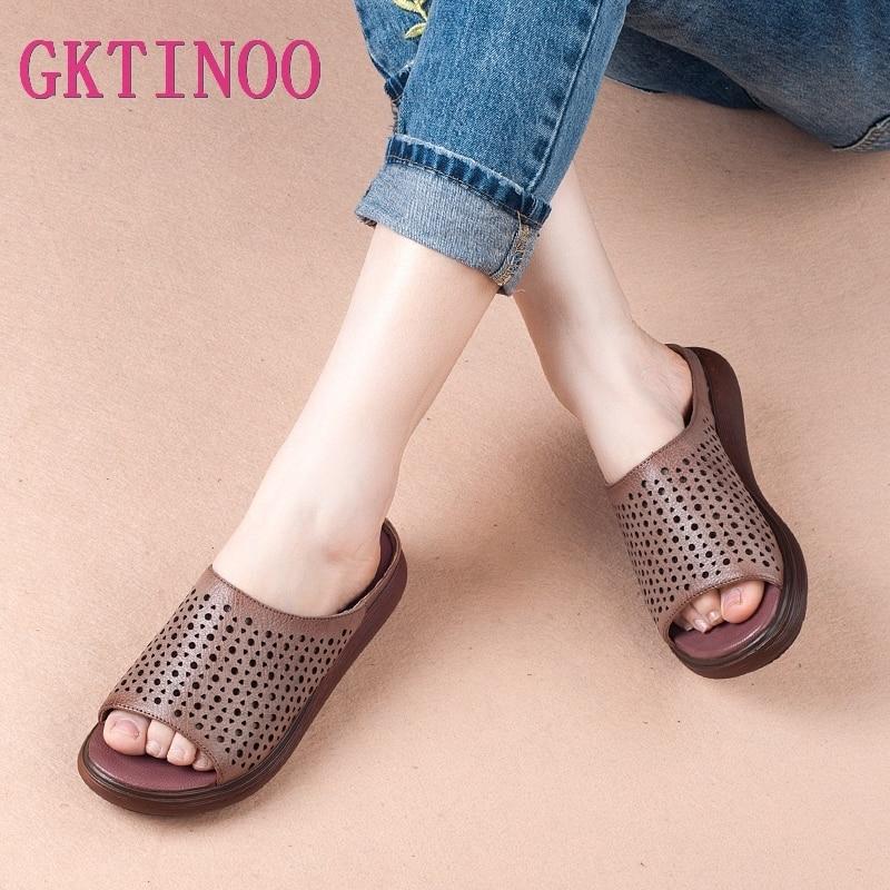 GKTINOO Summer Women Shoes Wedges Slippers Platform Sandals Genuine Leather Handmade Hollow Out Comfortable Women Slides
