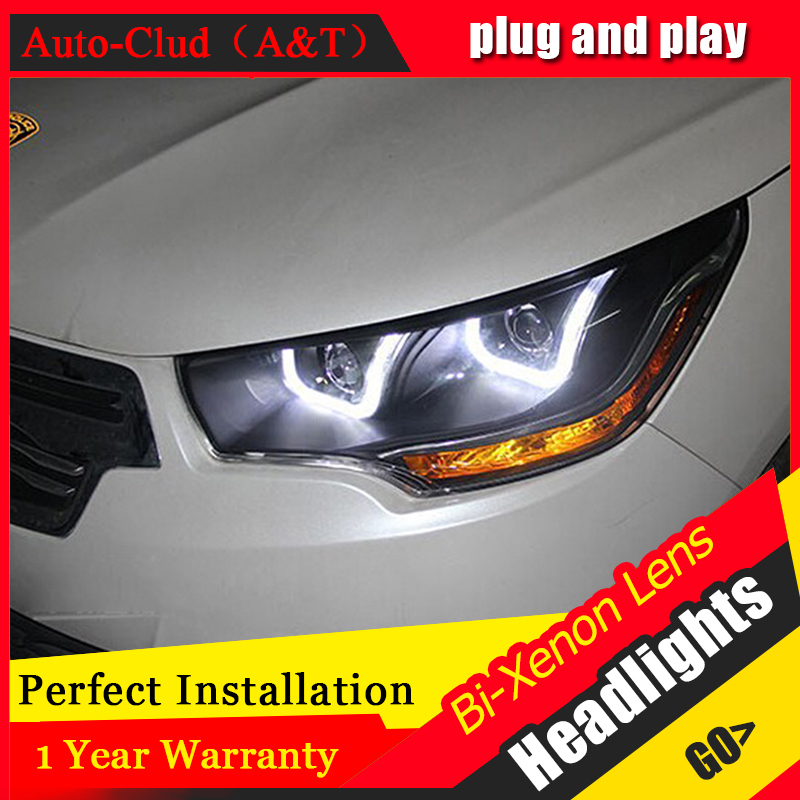 Car Styling For Citroen C4L headlights 2013-2014 C4 led headlight C4 drl projector headlights H7 hid Bi-Xenon Lens low beam