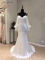 Amazing Mermaid Wedding Dresses 2018 Sweetheart Spaghetti Strap Court Train Appliques Chiffon Bride Dresses vestido noiva boda