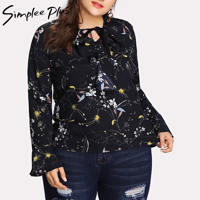Simplee Plus 2018 Autumn Fashion Women Plus Size Chiffon Blouse Shirt xxxl  4xl 5x Ruffle Neck Long Sleeve Floral Print Top-in Blouses   Shirts from  Women s ... 4f87e67d1c5c