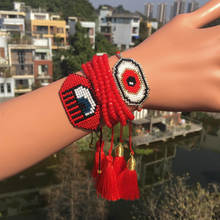 Go2boho Evil Eye Bracelet Delica MIYUKI Bracelets Jewelry Red Turkish Pulseras Crystal For Women Tassel Handmad Gift
