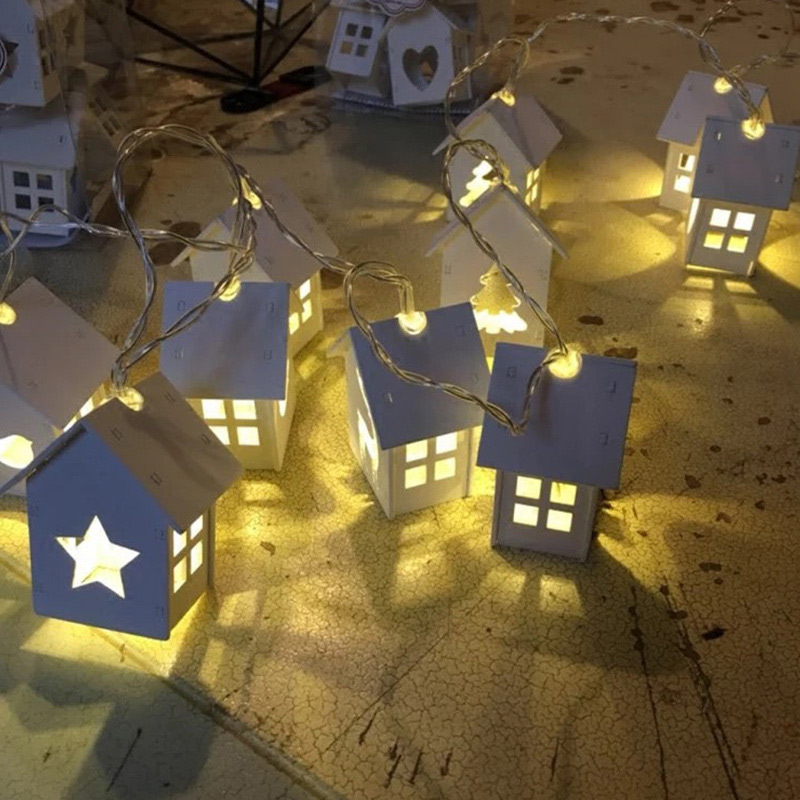 Festival Christmas String Lingts With Battery Box Wood House Shape Hollow Heart 10 LED Bulbs Light For Party Decoration B