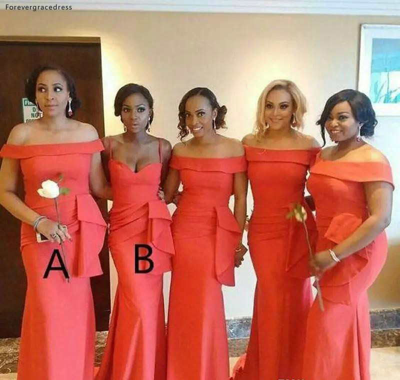 African Bridesmaid Dresses 2019 With Peplum Summer Country Garden Wedding Party Guest Maid Of Honor Gowns Plus Size Custom Made