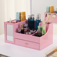 Cosmetic Drawer Imitation Leather Desktop Storage Box Multifunctional Belt Mirror Girls Dorms Storage Rack