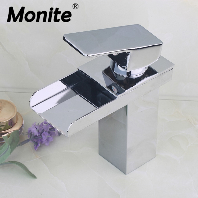 Waterfall Bathroom Basin Sink Brass Mixer Tap Vanity Faucet Chrome Finish Wide Spout Water Mixer Tap цена 2017