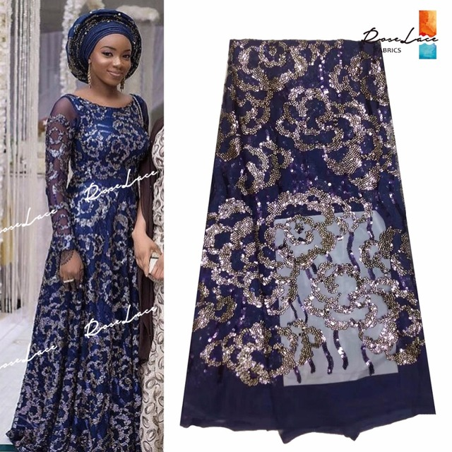2017 New Arrival Sequined African Swiss Voile Lace Fabric Indian Nigerian  Sequins Wedding Party Dresses Mesh Net Lace Material 0db63e190143