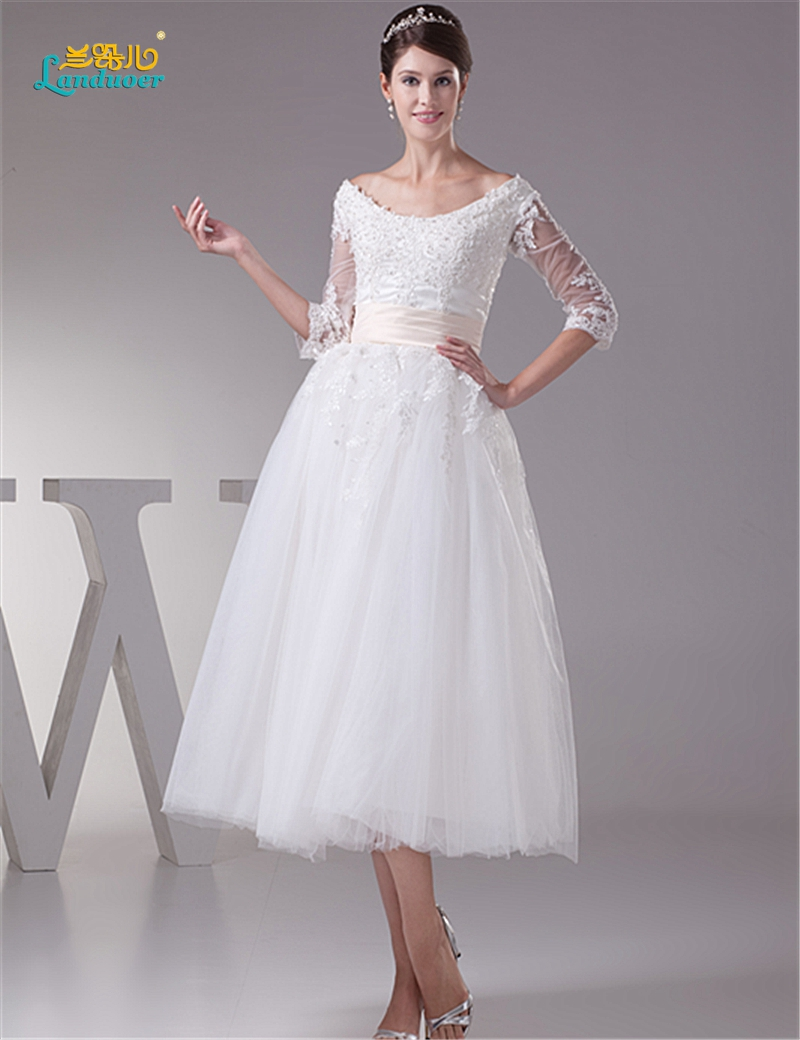 Quarter Length Wedding Dresses with Sleeves