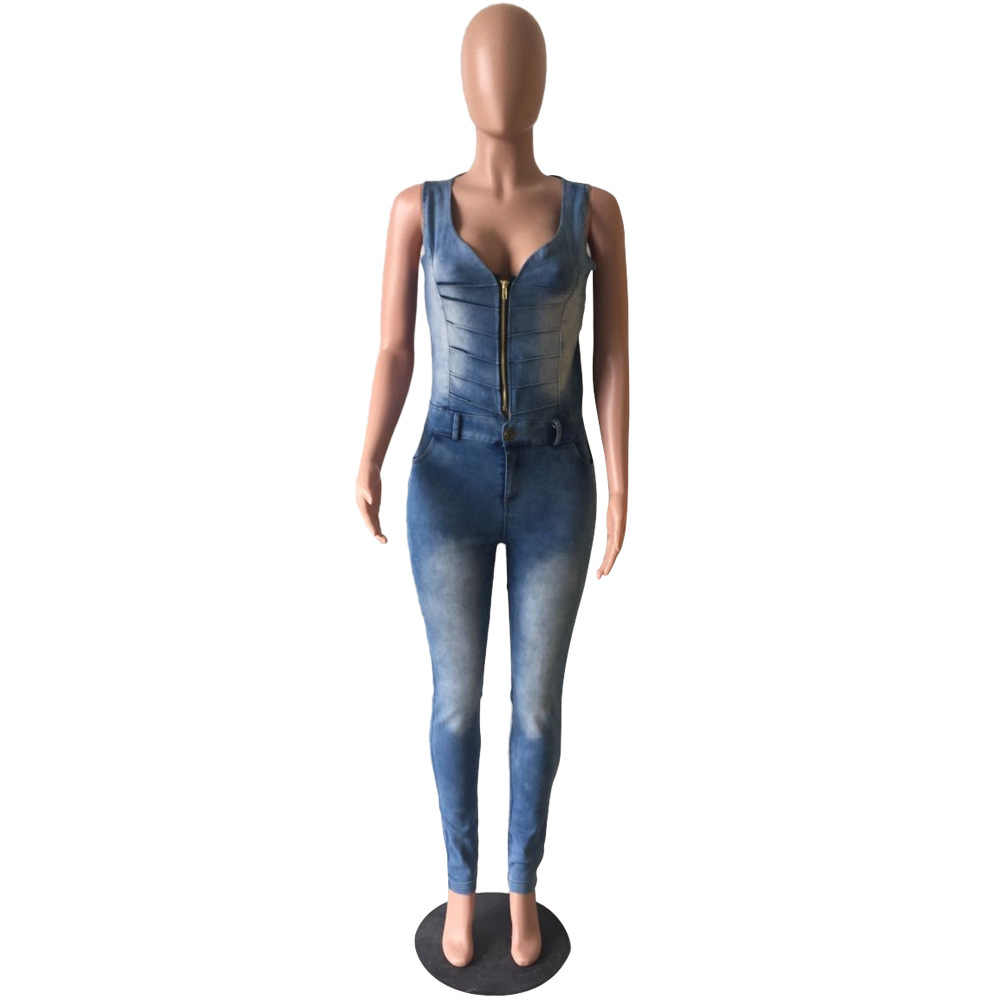 fee286a96b65 ... Fashion denim jumpsuits for women deep v-neck sleeveless backless front  zipper slim jeans playsuits ...