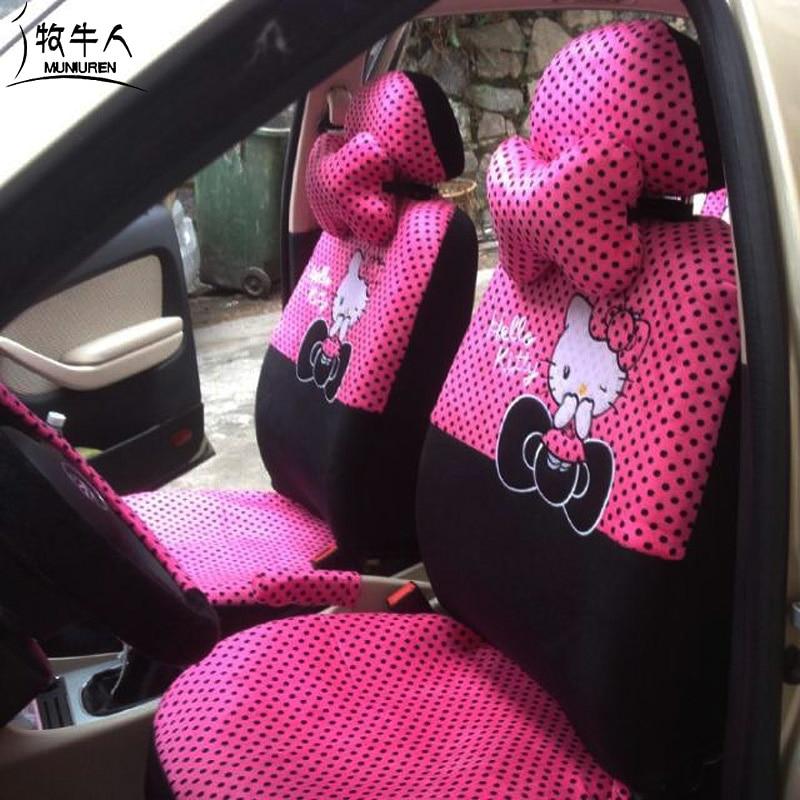 MUNIUREN 18 unids piezas de dibujos animados Hello Kitty Universal fundas de asiento de coche estilo Polka Dots impresión funda de asiento accesorios de coche