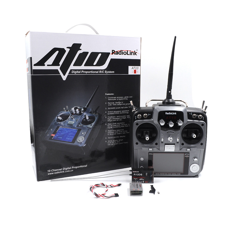 Original RadioLink AT10 II 2.4Ghz 12CH RC Transmitter TX With R12DS Receiver RX PRM-01 RC Copter DIY Aircraft Remote Controller