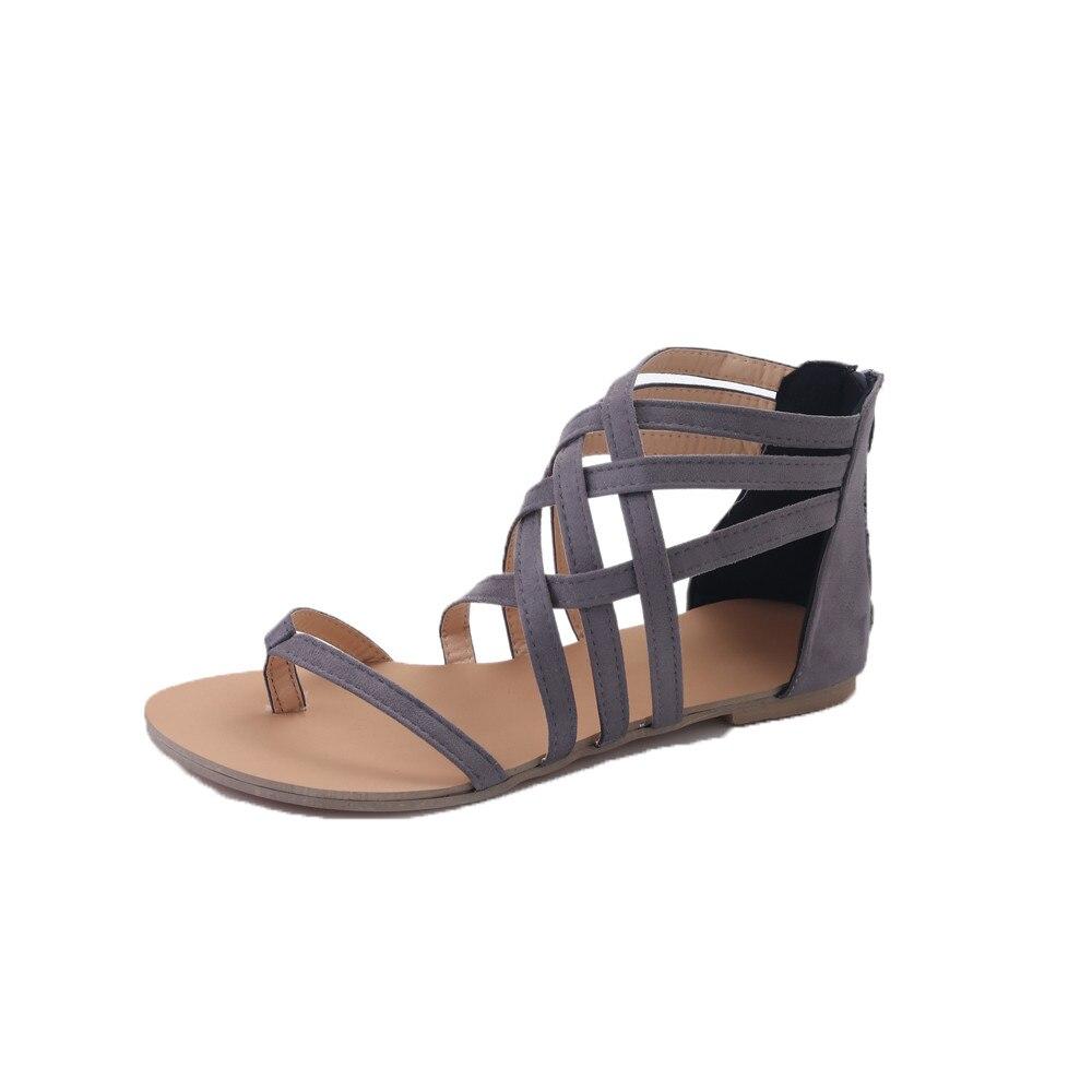Toe Cremallera Sandalias Ete Plana Flip Chaussures gris Correa Flop Gladiador Zapatos Femme Casual Bohemia Mujeres 2017 Negro xqqAXgv