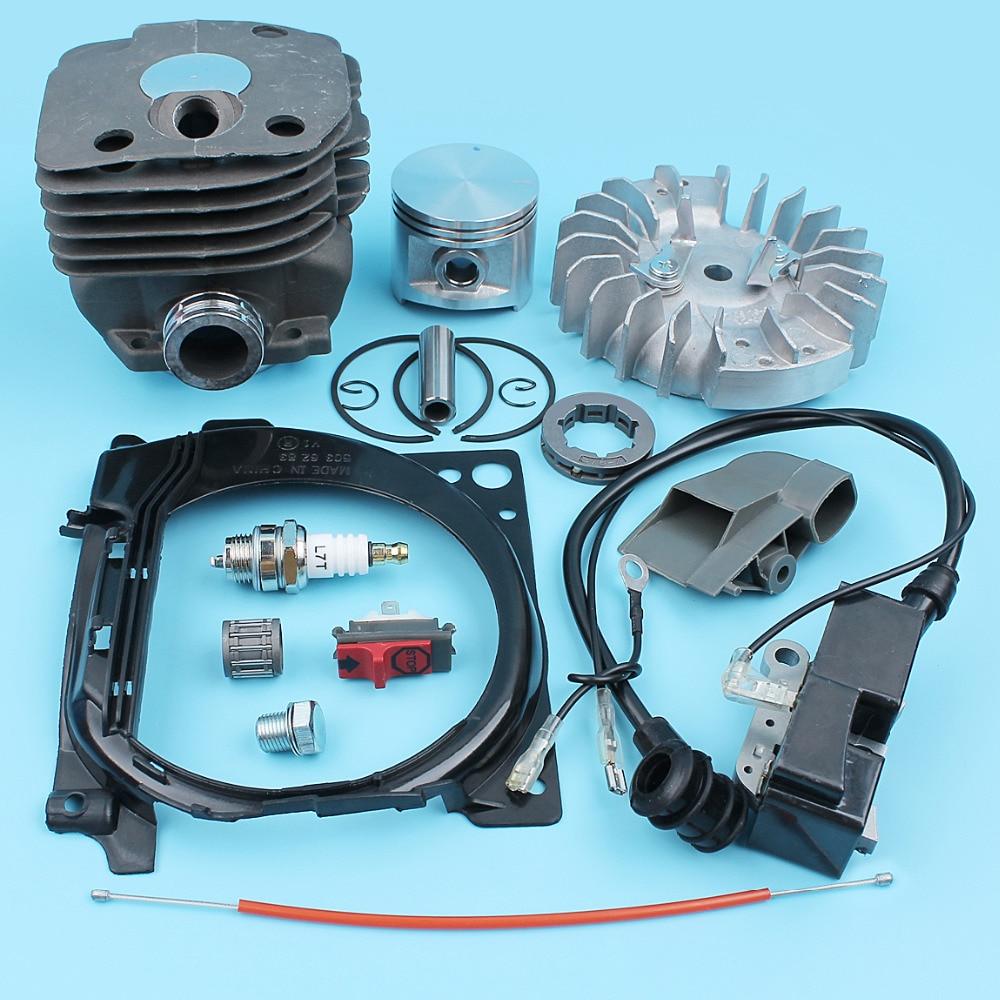 Haishine NIKASIL PLATED Cylinder Piston Bearing Gasket 50mm Kit Fit HUSQVARNA 365 371 372 XP 362 Chainsaw 2 Stroke Engine Motor Parts