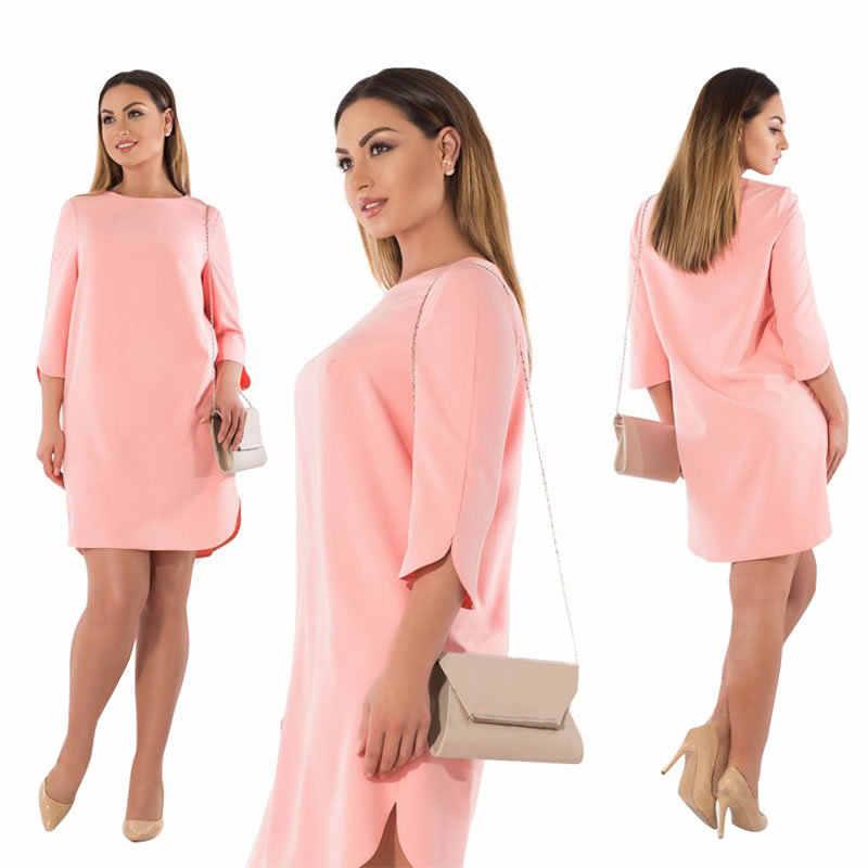 17f2a6609da ... 6XL 5XL плюс размер платье Весна Осень женское платье элегантный офис  разрез вечерние зеленый розовый большой