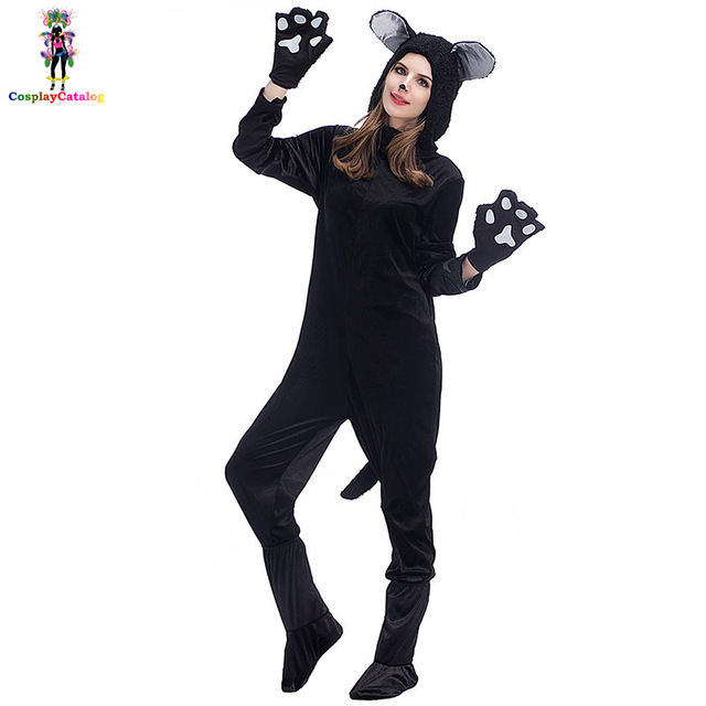 0a4d866d4 Preto Casal Halloween Traje Do Gato Homem Mulher Macacão Gato Sexy Festa de  Carnaval Para