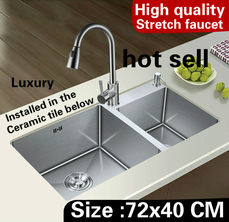 Free Shipping Apartment  Stretch Faucet Wash Vegetables Mini Kitchen Manual Sink Double Groove 304 Stainless Steel 720x400 MM