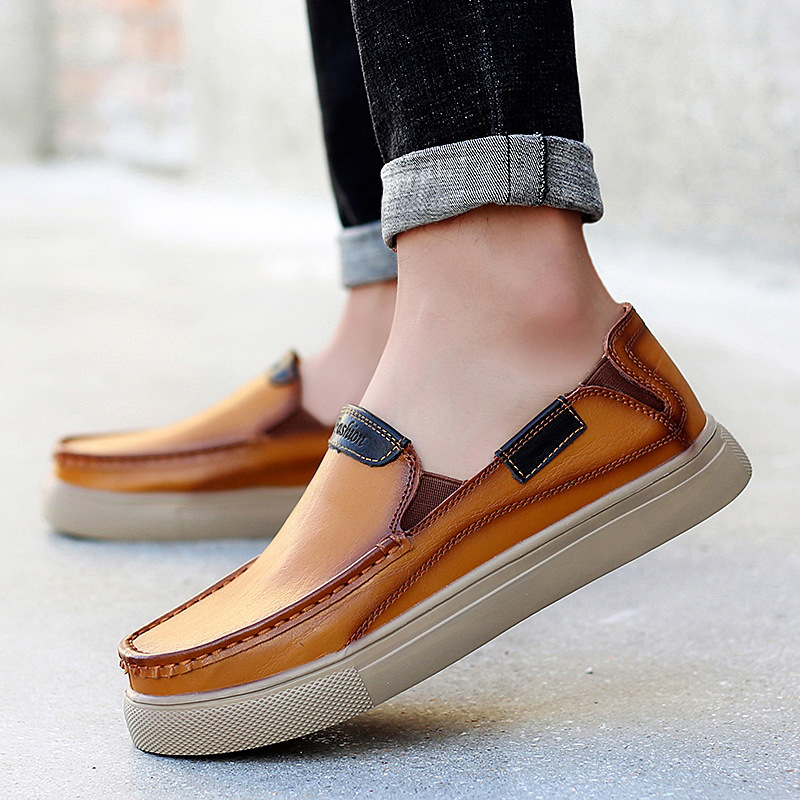 Calçados Pu Dos De Concise Deslizamento Autumm Sólidos chocolate Em Primavera Plana Condução Moda Sapatos Homens Preto Comfy Macio Couro marrom Casual Loafer qXnwZx