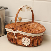 Wicker Storage Basket Hand woven Picnic Basket Needs To Be Customized Rattan Outdoor Portable Picnic Basket Wicker Basket