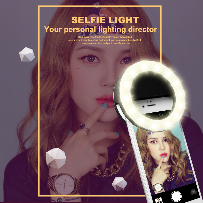 Portable LED Selfie Ring Light Rechargeable SmartPhone LED Flash Light Selfie Luminous Ring With USB Charging For IPhone Samsung