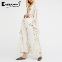 Everkaki Women Lace Robes Loose Open Stitch Hollow Sleepwear Sash Solid Long Sleeve Dressing Gowns For Women Sexy Kimono 2019