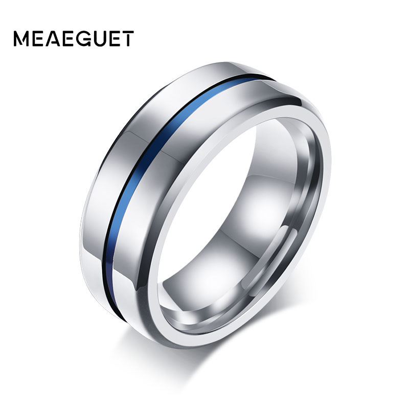 Meaeguet 8MM Wide Thin Blue Line Stainless Steel Ring For