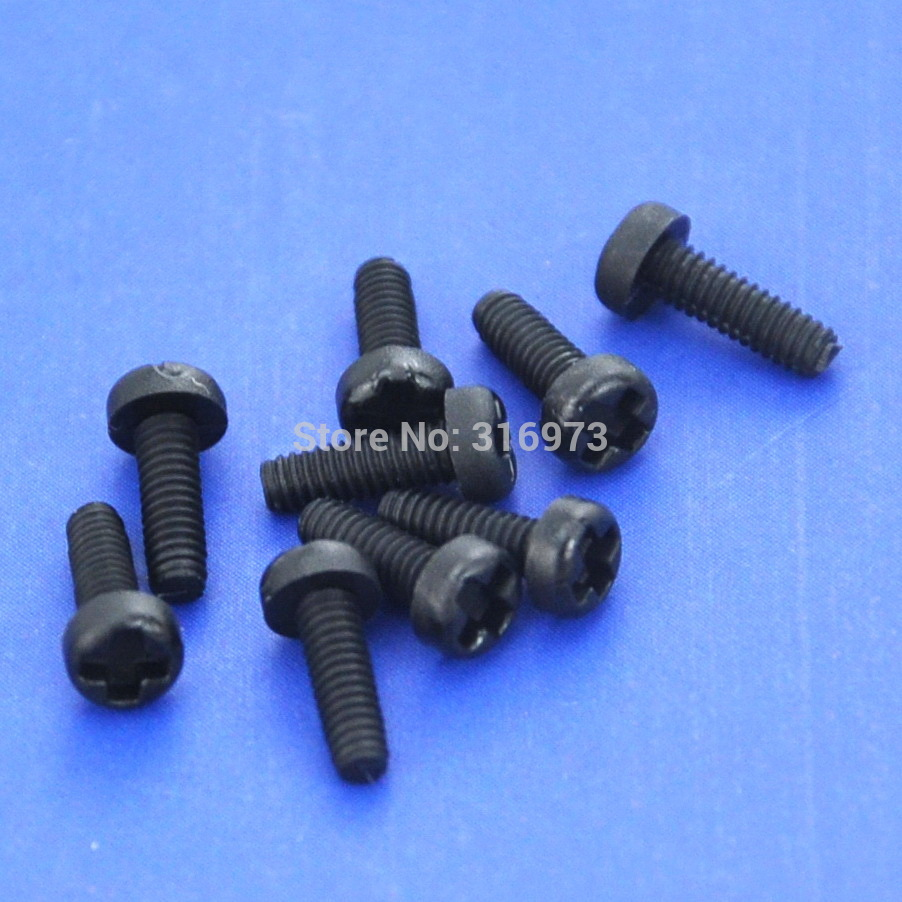 10pcs M2x4mm Black Nylon Phillips Pan-Header Screw .
