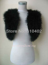 free shipping/Genuine Real ostrich feather fur  with lace  vest   new style / black2#