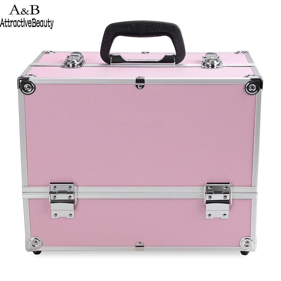 Homdox Portable Cosmetic Box Extendable Makeup Train Case Makeup Storage Brush Holder Makeup Organizer Case N20*