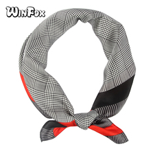Winfox New Fashion 60cm*60cm Black Green Orange Houndstooth Bandana Plaid Scarfs Headwear Handkerchief Scarves Women Girls недорого