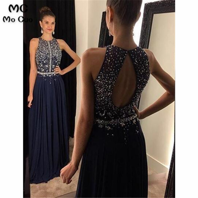 Elegant 2020 Dark Blue Evening Dresses Long With Beaded Crystals Chiffon Floor Length Backless Evening Prom Dress For Women