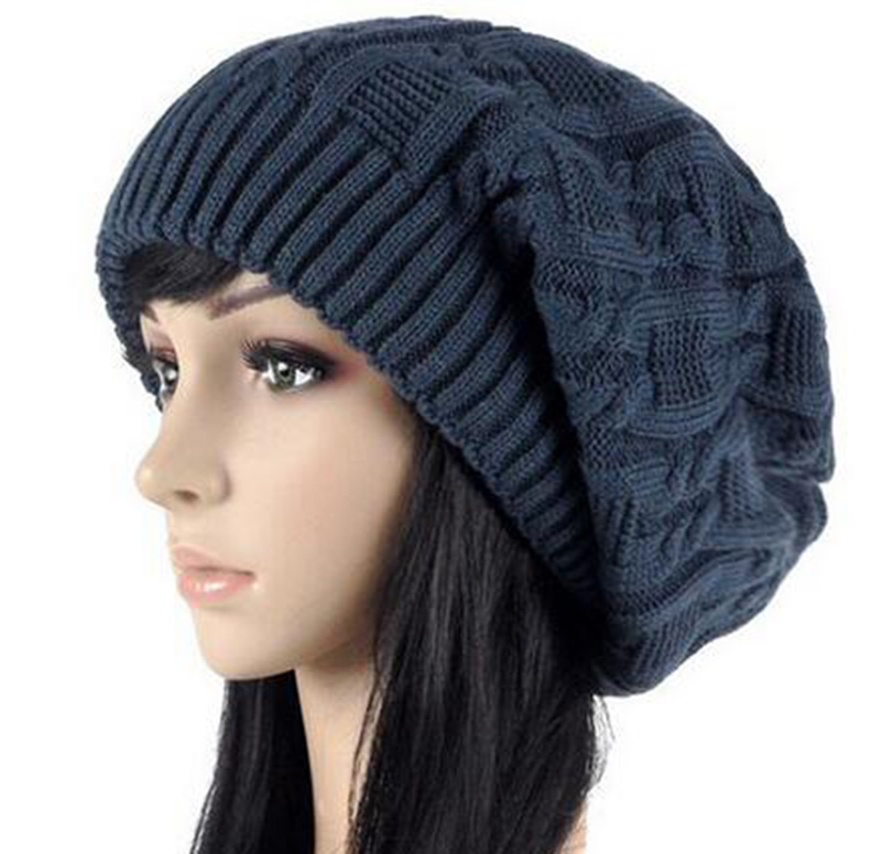 Women Warm Casual Beanies Stripes Knitted Female Hat Autumn Winter Cap For Girl