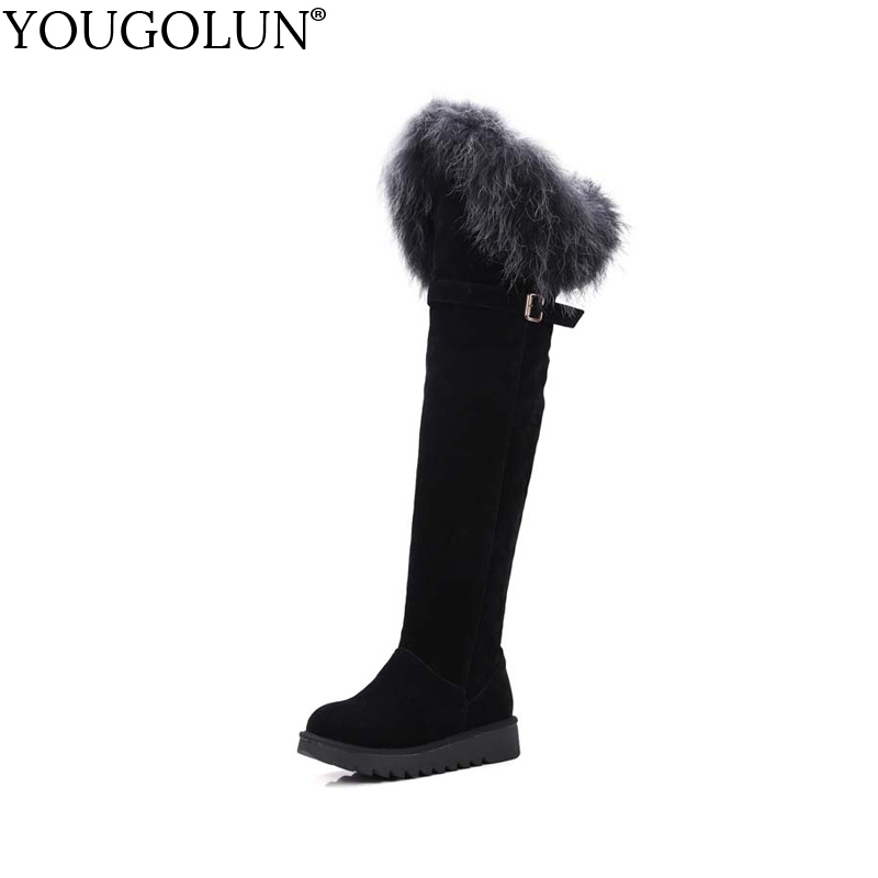 YOUGOLUN Women Snow Boots Fur New Winter Rabbite Hair Black Buckle Platform Heel Shoes Thigh High Boots Warm Shoes #Y-231