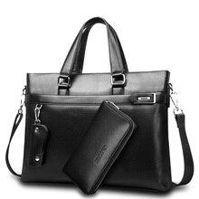 Promosyonlar yeni moda çanta erkekler evrak çantası PU deri erkek çanta iş marka erkek evrak çantası çanta toptan yüksek kalite