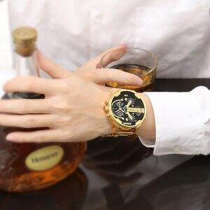 Image 2 - Relogio Masculino Cagarny Brand Analog Military Wristwatch Auto Date Mens Quartz Watch Golden Band Casaul Watch Men Clock D6280Z