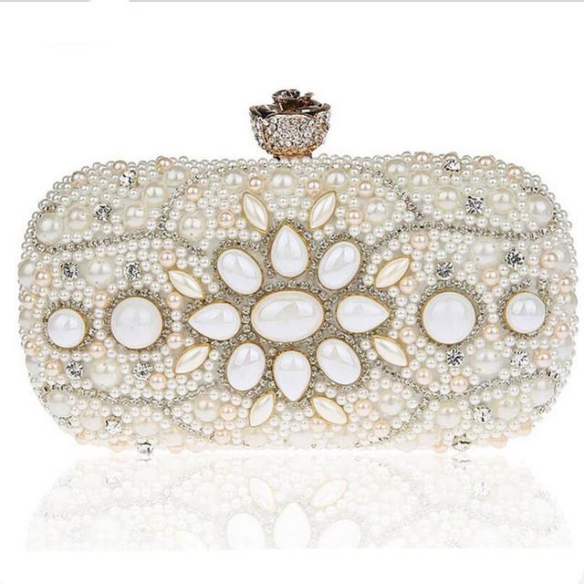 2016 Vintage Design Women Clutch Bags Black Beige Evening Bag Luxury Diamond Clutches Hot Wedding Party Purse Chain Handbags