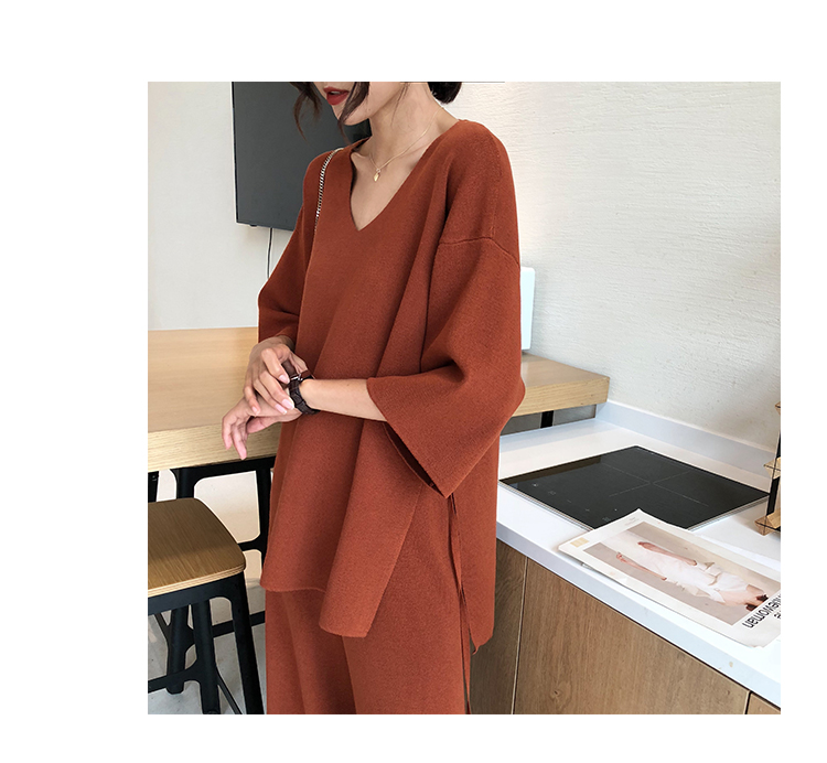 Knitting Female Sweater Pantsuit For Women Two Piece Set Knitted Pullover V-neck Long Sleeve Bandage Top Wide Leg Pants  Suit 7