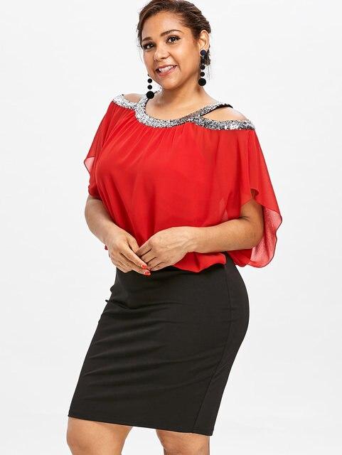 Gamiss Plus Size Cold Shoulder Sequins Blouson Dress O Neck Women ...
