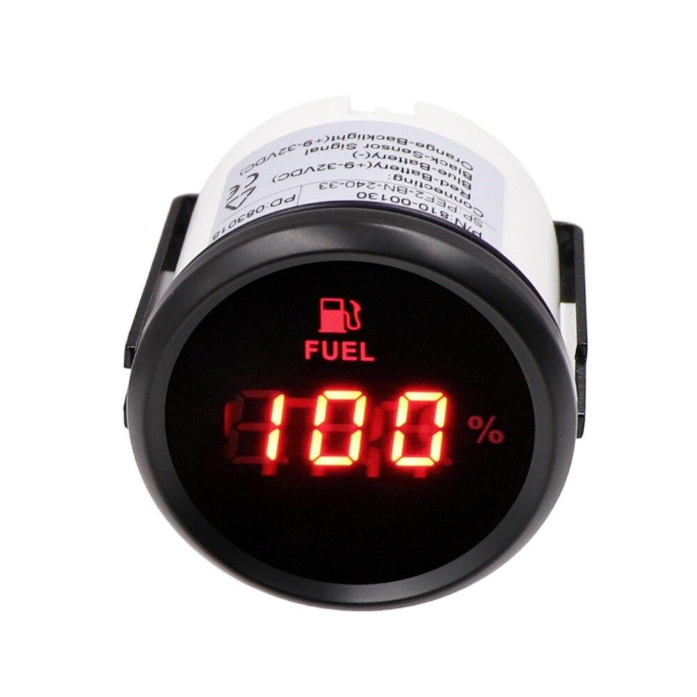 52mm Digital Fuel Level Gauge  240~33 Ohm Oil Tank Level Indicator 0~190ohm  Fuel Gauge 9~32V For Car Boat