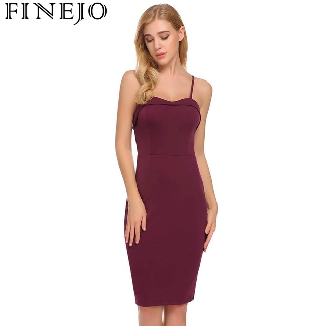 Finejo Sexy Spaghetti Strap Backless Bodycon Club Party Pencil Dress Women  Solid Knee Length High Waist Dress Roupas Femininas d49a3d76fceb