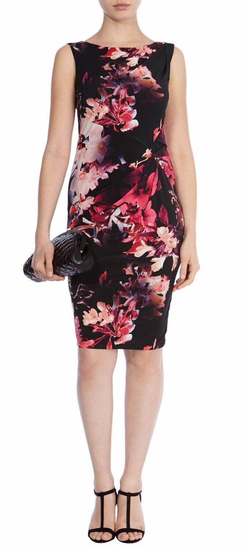 Fashion Dresses Accessories: Fashion Print Women Sheath Dress Novelty Pleated