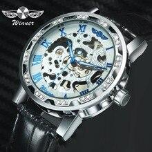 WINNER Official Retro Roman Luminous Hands Fashion Mens Mechanical Skeleton Wrist Watches Diamond Display Top Brand Luxury 2019